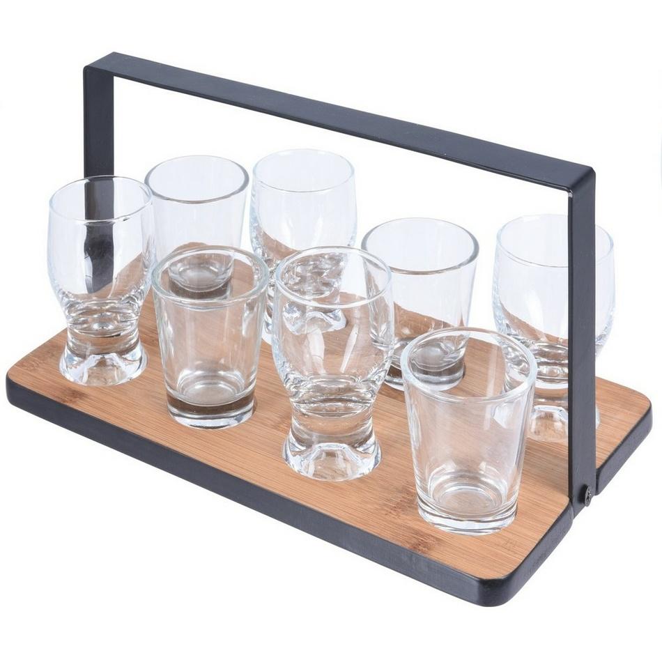 Servírovací podnos s pohárikmi, 9 ks