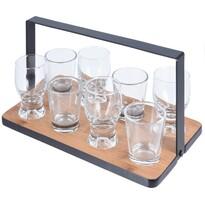 Servírovací podnos se skleničkami, 9 ks