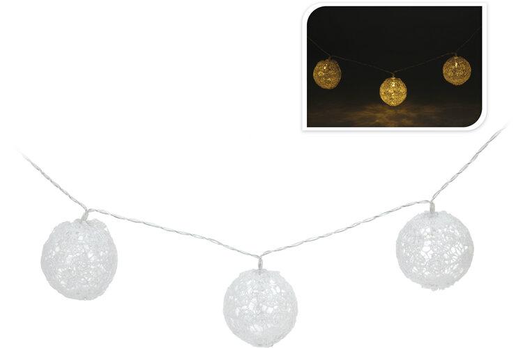 Svetelná LED reťaz čipkované guľôčky