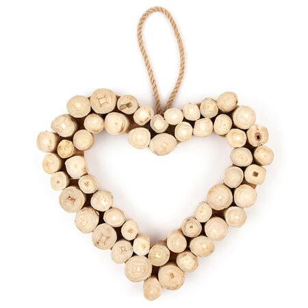 Závěsná dekorace Dřevěné srdce Ouvert, 30 cm