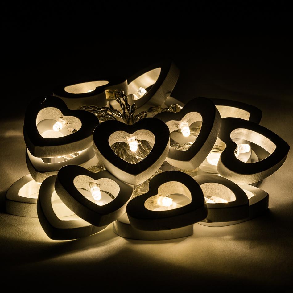 Dekorační světelný řetěz Hearts, 20 LED