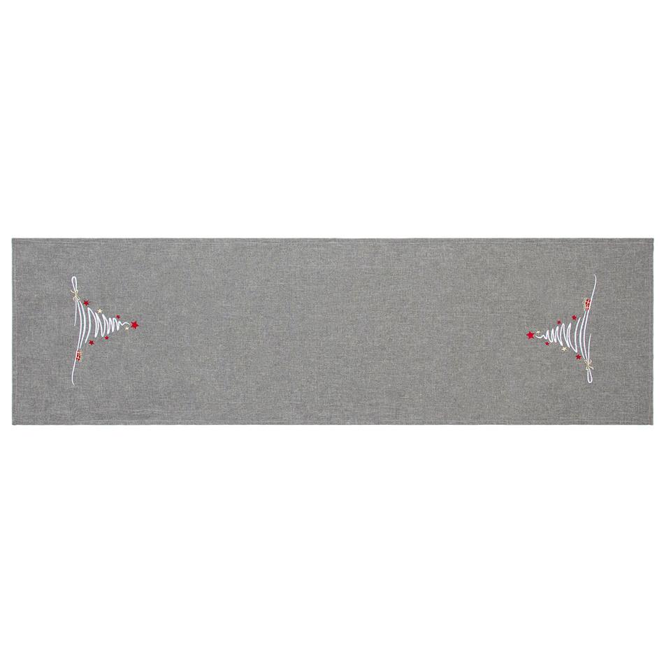 BO-MA Trading Běhoun na stůl Vánoční stromek šedá, 40 x 140 cm