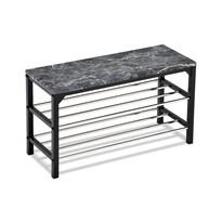 Botník/taburet 2 patra Black marble, 77 x 29 x 42 cm