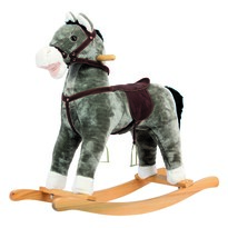 Bino Plyšový hojdací kôň sivá, 64 x 30 x 74 cm