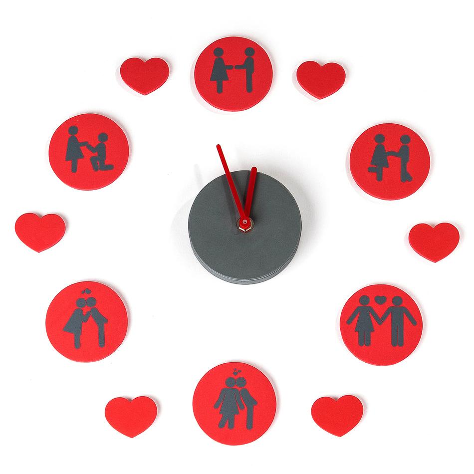 Samolepiace hodiny 3D Love signs