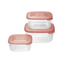Tontarelli Sada plastových dóz na potraviny 3 ks, štvorec, červená