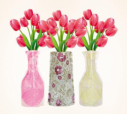 Skládací vázy, sada 3 ks, vícebarevná, 19 x 28 cm