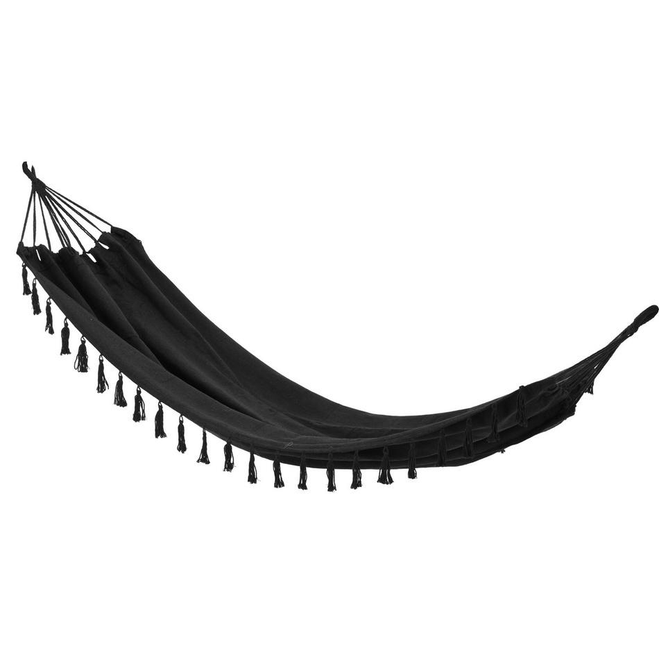 Houpací závěsné lehátko Tassel černá, 200 x 100 cm