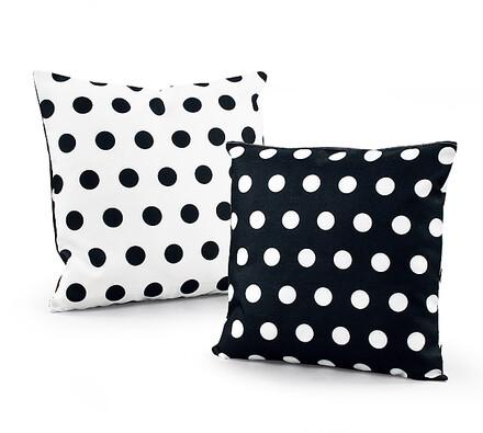 Dekorační polštářky Černý puntík, 38 x 38 cm, sada, bílá + černá