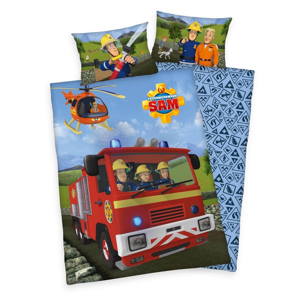 Herding Detské bavlnené obliečky do postieľky Požiarnik Sam, 100 x 135 cm, 40 x 60 cm