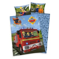 Lenjerie de pat copii, din bumbac, Pompierul Sam, 100 x 135 cm, 40 x 60 cm