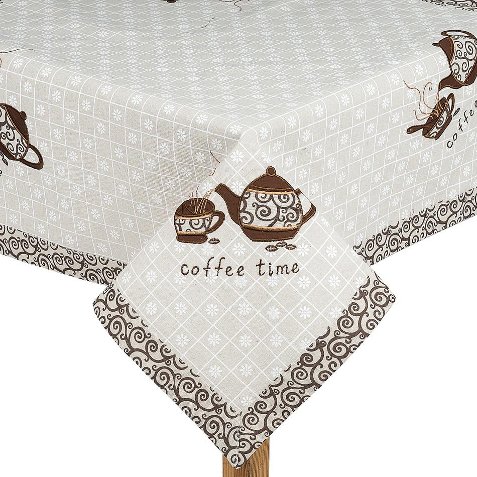 Forbyt Vyšívaný obrus Coffee time, 85 x 85 cm