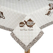 Vyšívaný ubrus Coffee time, 85 x 85 cm