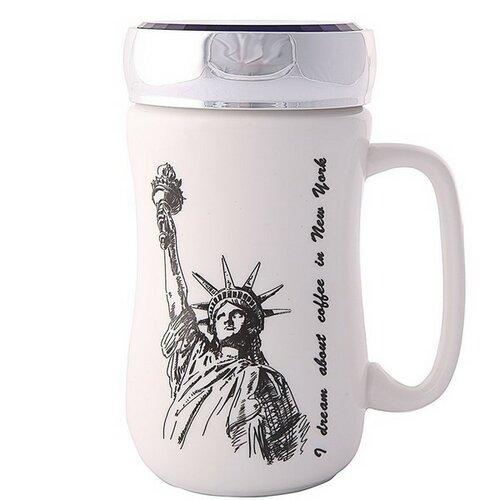 Altom Porcelánový hrnek s víčkem New York 400 ml