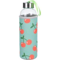 Sklenená fľaša na vodu Cherry, 400 ml