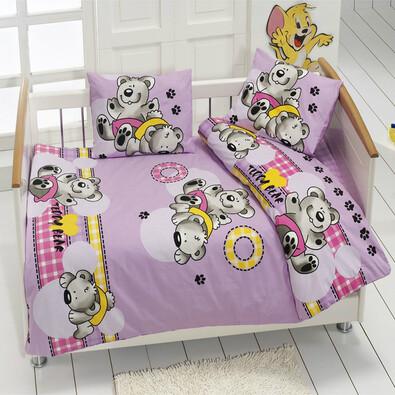Dětské bavlněné povlečení medvídek fialová, 95 x 135 cm, 40 x 60 cm