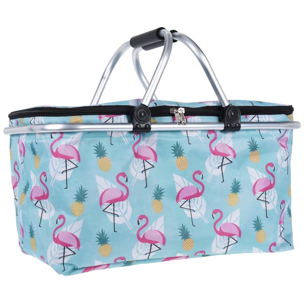 Koopman Chladicí nákupní košík Flamingoes, 48 x 28 x 24 cm