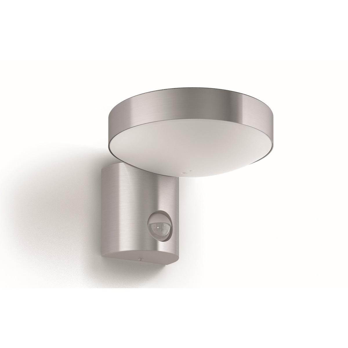 Philips 16491/47/P0 Cockatoo Venkovní nástěnné LED svítidlo s čidlem 17 cm, stříbrná