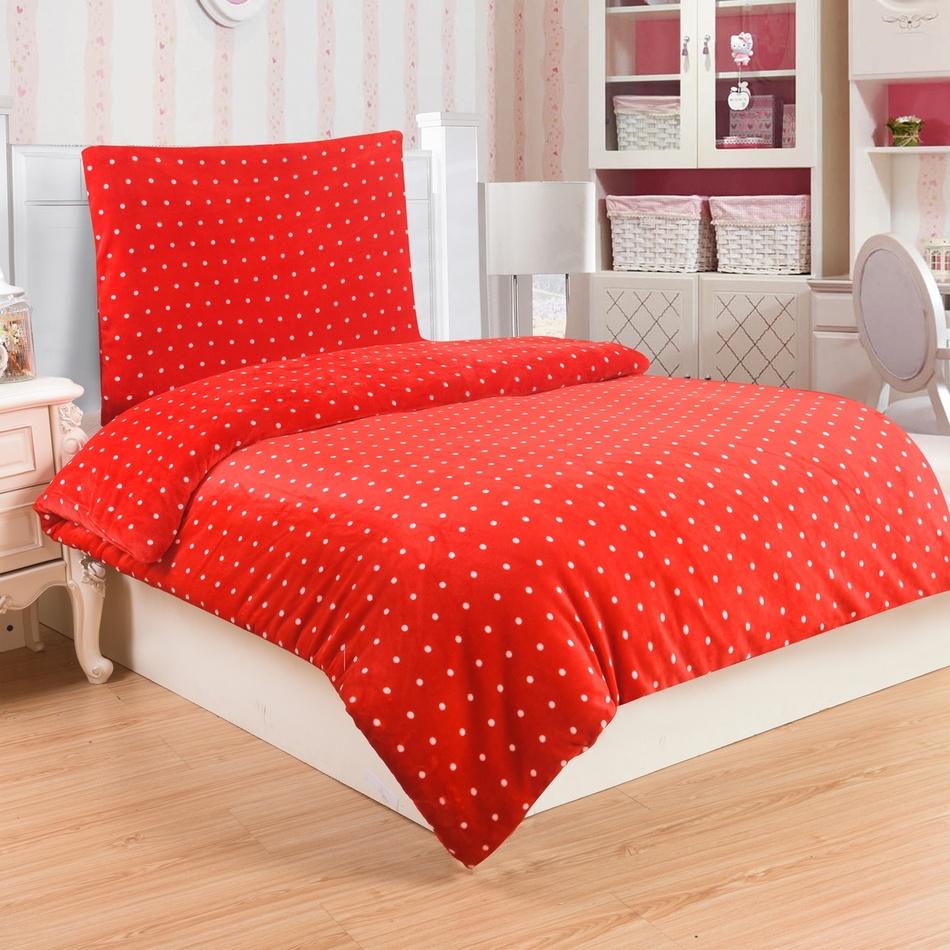 Mikroplüss ágyneműhuzat Polka piros, 140 x 200 cm, 70 x 90 cm