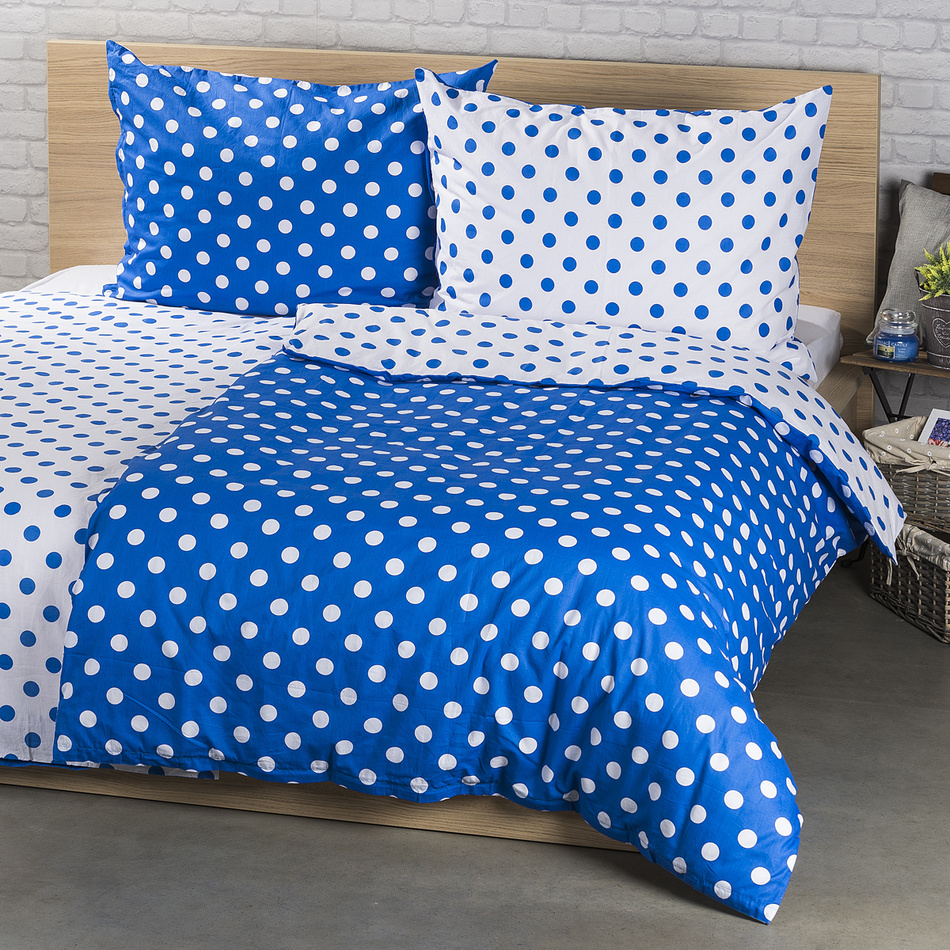 4Home Bavlněné povlečení Modrý puntík , 140 x 200 cm, 70 x 90 cm, 140 x 200 cm, 70 x 90 cm