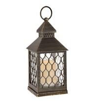 Lampáš s LED sviečkou Rigel, hnedá, 10,5 x 23,5 x 10,5 cm