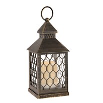Rigel lámpás LED gyertyával, barna, 10,5 x 23,5 x 10,5 cm