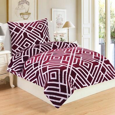 Lenjerie de pat Labirint Wine, din micro-pluș, 140 x 200 cm, 70 x 90 cm