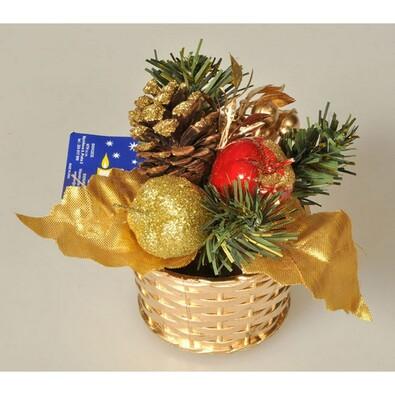 Vánoční zdobený košík, v. 14 cm, zlatý, zlatá