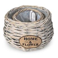 Ratanový květináč Home a Flower béžová, sada 2 ks