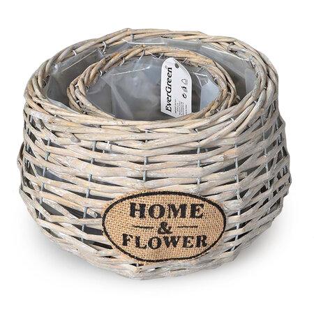 Ghiveci din ratan Home & Flower bej, set 2 buc.