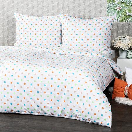 4Home Dots pamut ágynemű narancssárga, 140 x 220 cm, 70 x 90 cm