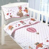 Lenjerie de pat din bumbac, pentru copii, AgataBufniță roz, 90 x 135 cm, 45 x 60 cm