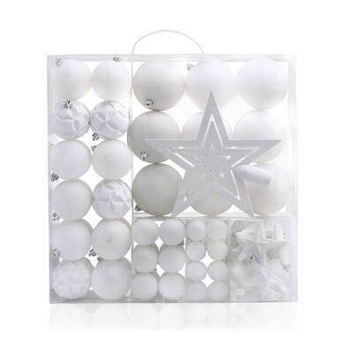 DecoKing Sada vánočních ozdob Shiny bílá, 100 ks