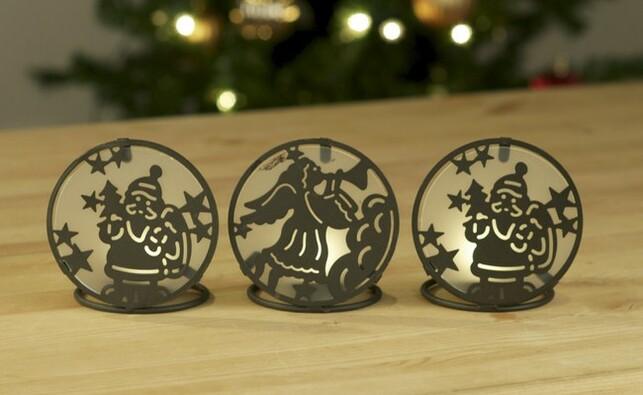 Vánoční svícen na čajovou svíčku, hnědá, pr. 10 cm