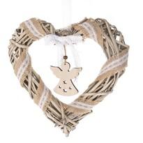 Vánoční závěsné srdce s andělem, 30 x 30 cm, přírodní