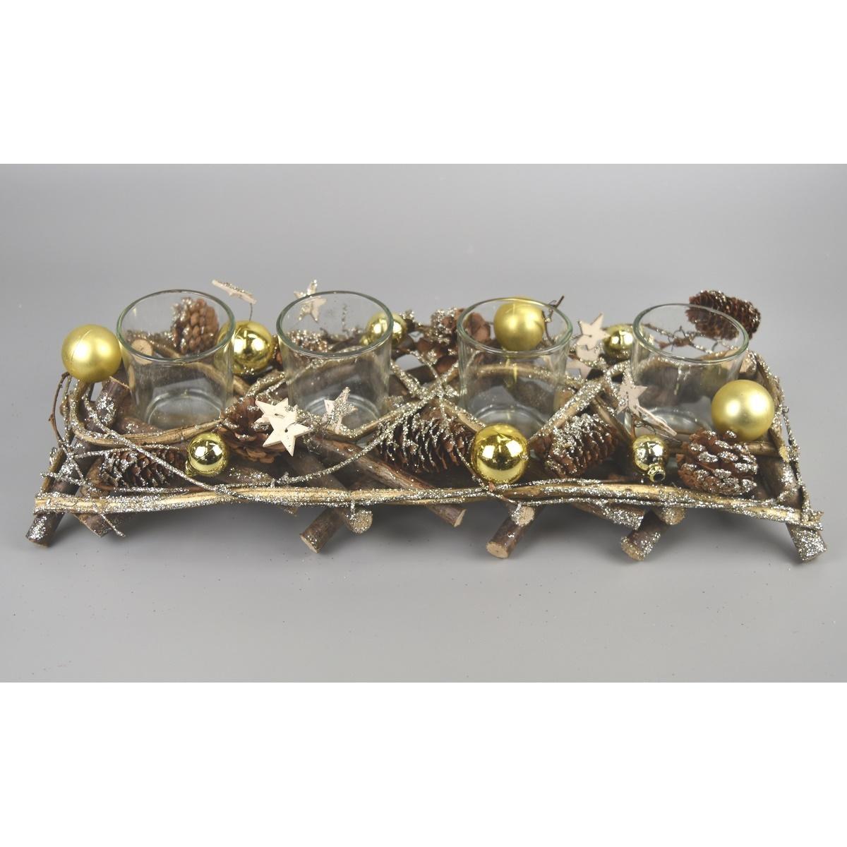Adventní svícen Midland zlatá, 41 x 14 cm