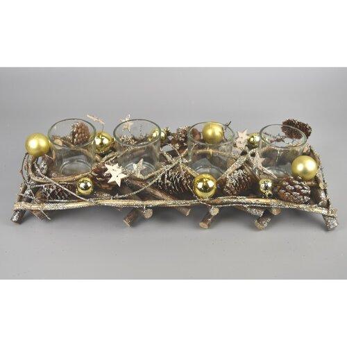 Sfeșnic Advent Midland auriu, 41 x 14 cm