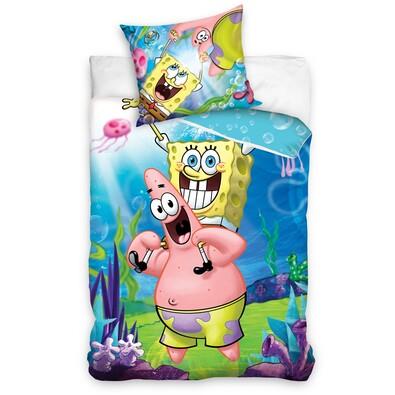 Dziecięca pościel bawełniana SpongeBob i Patryk, 140 x 200 cm, 70 x 80 cm