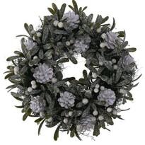 Vianočný dekoračný veniec Helene pr. 24 cm, biele bobule