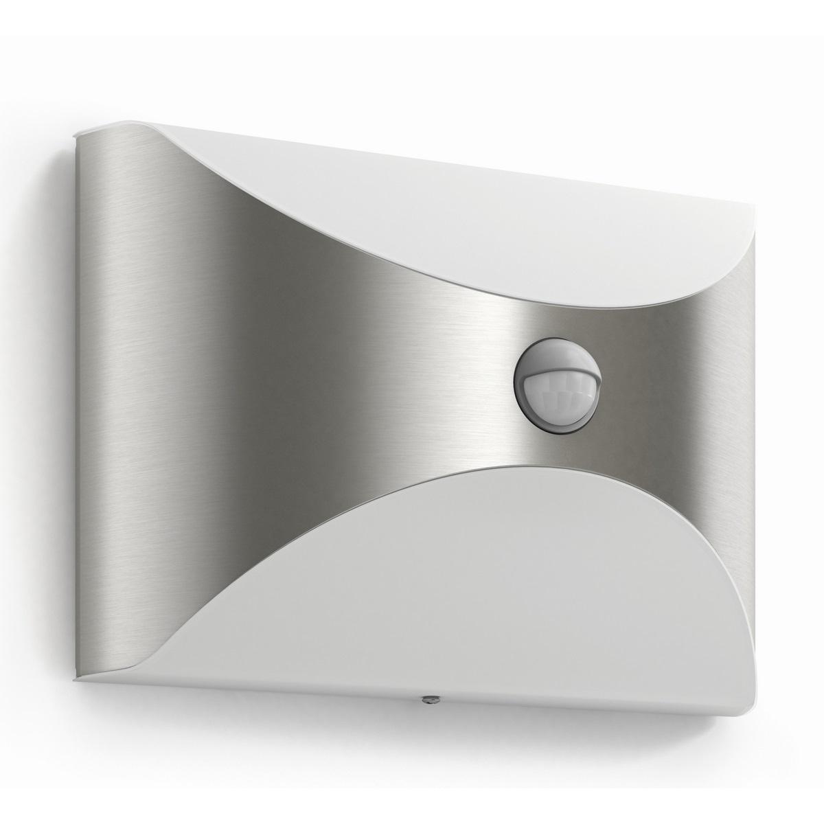 Philips 17299/47/16 Herb Vonkajšie nástenné LED svietidlo s čidlom 23 cm, strieborná