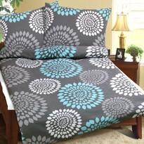 Lenjerie de pat din flanelă Flori, gri-turcoaz, 140 x 200 cm, 70 x 90 cm