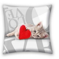 Polštářek Love Cat, 40 x 40 cm