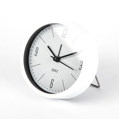 Budík Round bílá, pr. 9,2 cm