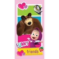 Jerry Fabrics Mása és a medve friends törölköző, 70 x 140 cm