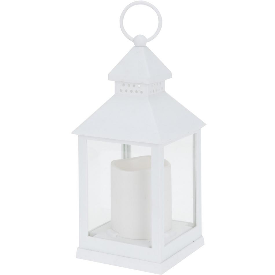 Lucerna s LED svíčkou bílá, 23 cm