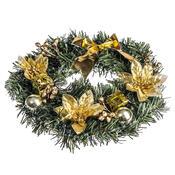 Vánoční věnec s poinsetií pr. 25 cm, zlatá