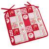 Sedák Country patchwork červená, 40 x 40 cm