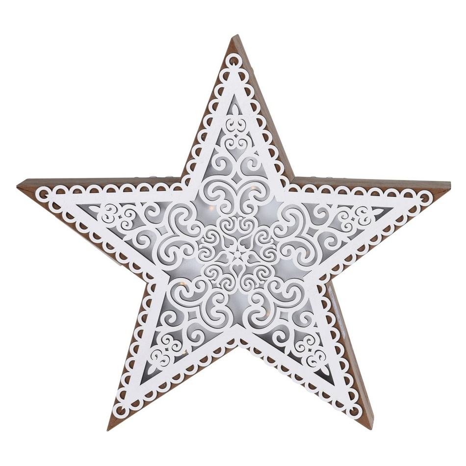 Vánoční dřevěná hvězda Palencia, 5 LED