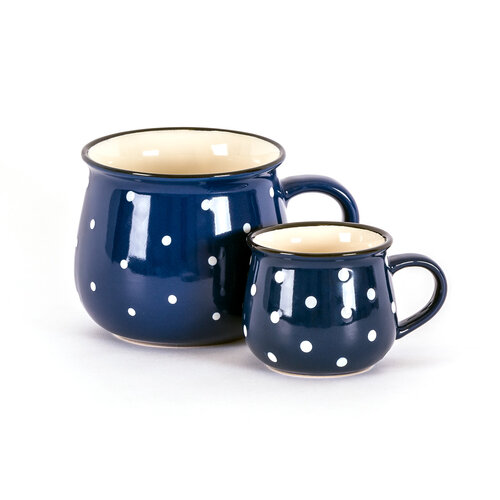 Keramický hrnek Dots 770 ml, modrá