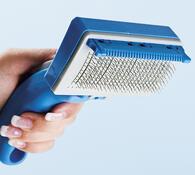 Samočistící kartáč PetZoom, modrá, 17 x 9,5 cm